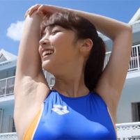 【高画質ワキフェチ動画】綺麗に処理されたワキの下を丸見せ競泳水着姿の激カワ美少女